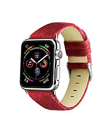 Men's and Women's Apple Dusty Rose Wool Velvet, Leather, Stainless Steel Replacement Band 44mm