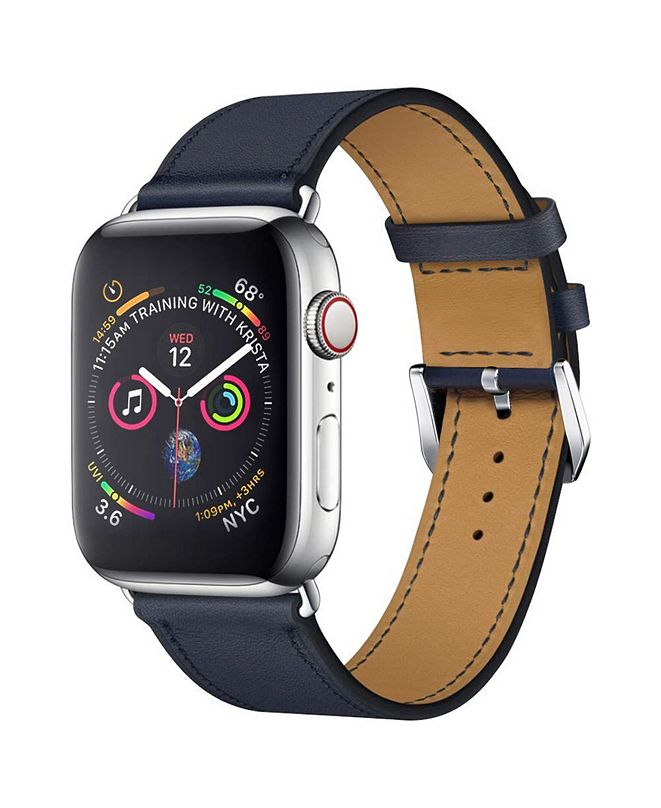Posh Tech Men's and Women's Apple Blue Leather Replacement Band 44mm