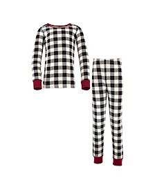 Big Girls and Boys Plaid Tight-Fit Pajama Set, Pack of 2