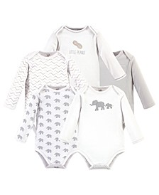 Baby Girls and Boys Marching Elephant Long-Sleeve Bodysuits, Pack of 5