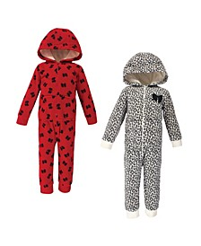 Toddler Girls Leopard Bow Fleece Jumpsuits and Coveralls, Pack of 2