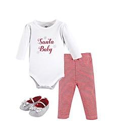 Baby Girls Santa Bodysuit, Pant and Shoe Set, Pack of 3