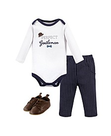 Baby Boys Gentleman Bodysuit, Pant and Shoe Set, Pack of 3