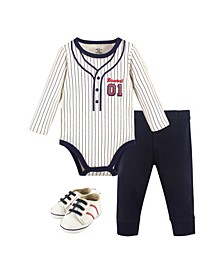 Baby Boys Baseball Bodysuit, Pant and Shoe Set, Pack of 3