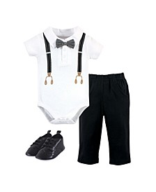 Baby Boys Suspenders Bodysuit Pant and Shoe Set, Pack of 3