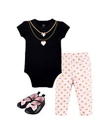 Baby Girls and Boys Heart Necklace Bodysuit, Pant and Shoe Set, Pack of 3