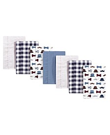 Baby Boys Handsome Fella Flannel Burp Cloths, Pack of 7