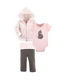 Baby Girls and Boys Lace Garden Hoodie, Bodysuit or Tee Top and Pant, Pack of 3