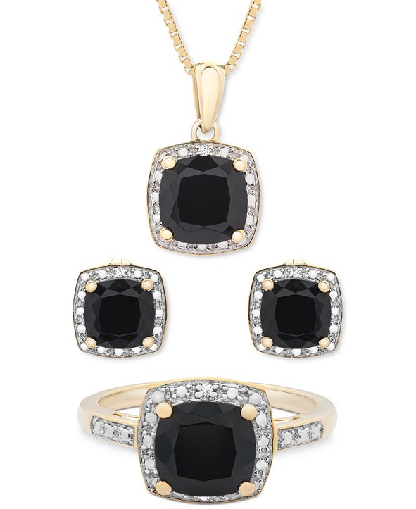 Macy's 3-Pc. Set Onyx & Diamond Accent Pendant Necklace, Ring and Stud Earrings in 14k Gold-Plated Sterling Silver (Also Available in Sterling Silver)