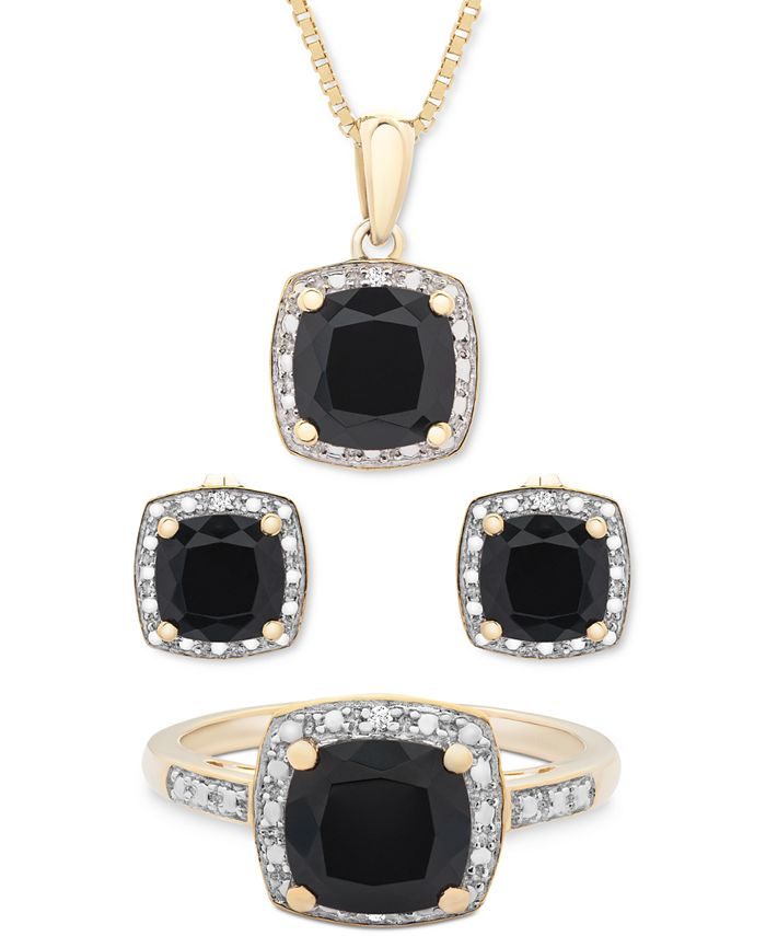 Macy's - 3-Pc. Set Onyx & Diamond Accent Pendant Necklace, Ring and Stud Earrings in 14k Gold-Plated Sterling Silver or Sterling Silver
