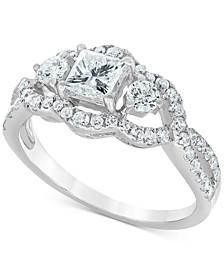 Diamond Princess Openwork Engagement Ring (1-1/4 ct. t.w.) in 14k White Gold