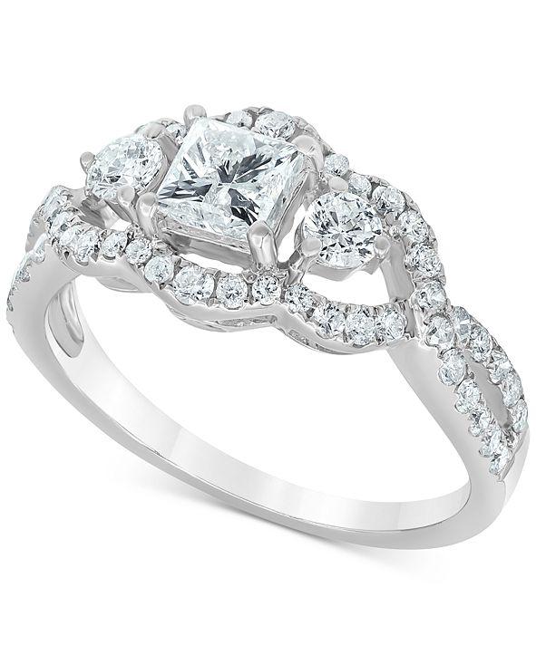Macy's Diamond Princess Openwork Engagement Ring (1-1/4 ct. t.w.) in 14k White Gold