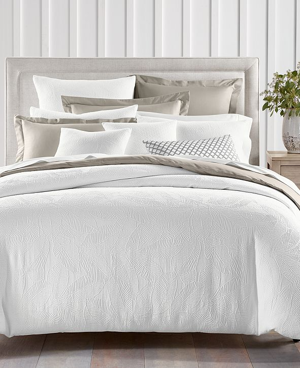 Charter Club Woven Leaves Cotton 2-Pc. Twin Duvet Set, Created for Macy's