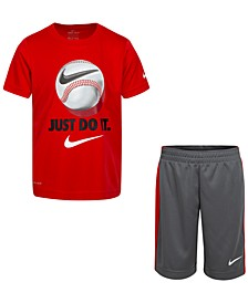 Little Boys 2-Pc. Just Do It Baseball T-Shirt & Shorts Set