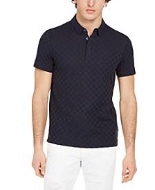 Men's Slim-Fit Monochrome Checkered Polo Shirt