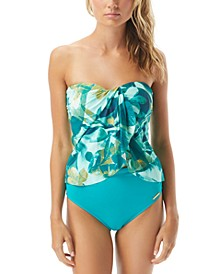 Rainforest Strapless Tankini Top & High-Waisted Bikini Bottoms