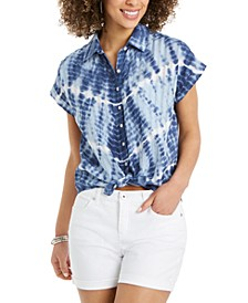 Tie-Dyed Tie-Front Camp Shirt, Created for Macy's