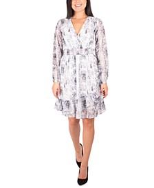 Petite Smocked-Trim Ruffled Dress