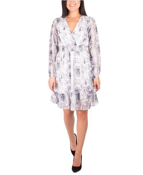 NY Collection Petite Smocked-Trim Ruffled Dress