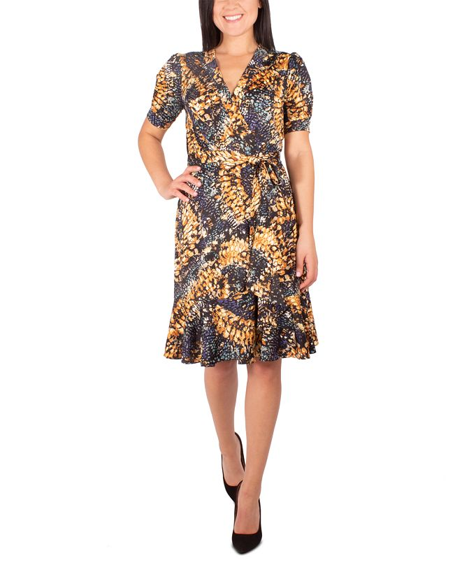 NY Collection Petite Printed Side-Tie Dress