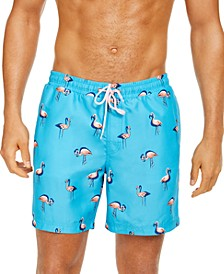 "Men's Quick-Dry Performance Flamingo-Print 7"" Swim Trunks, Created for Macy's"