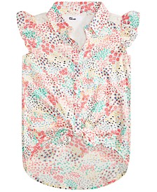 Big Girls Ditsy-Print Tie-Front Top, Created for Macy's