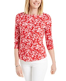 Floral-Print Pima Cotton Boat-Neck Top, Created for Macy's
