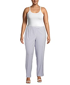 Plus Size Striped High-Rise Pants