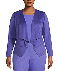 Plus Size Faux-Suede Open-Front Jacket
