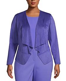 Plus Size Faux-Suede Open-Front Jacket