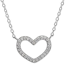 "Cubic Zirconia Heart 18"" Pendant Necklace in Sterling Silver, Created for Macy's"
