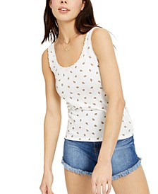 Juniors' Printed Lace-Trimmed Pointelle Tank Top