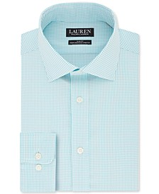 Men's Slim-Fit Non-Iron UltraFlex Performance Stretch Mint Mini-Check Dress Shirt