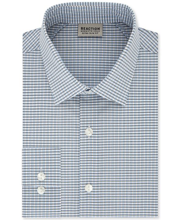 Kenneth Cole Reaction Men's Extra-Slim Fit Non-Iron Steel Blue Check Dress Shirt
