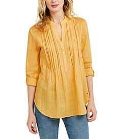 Lattice-Texture Roll-Sleeve Shirt
