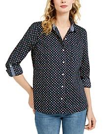 Printed Roll-Tab Sleeve Shirt