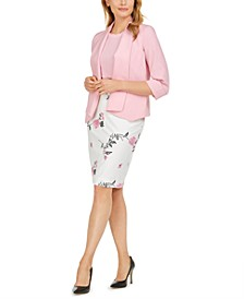 Stretch Crepe Jacket, Embroidered Floral Skirt & Scalloped Blouse