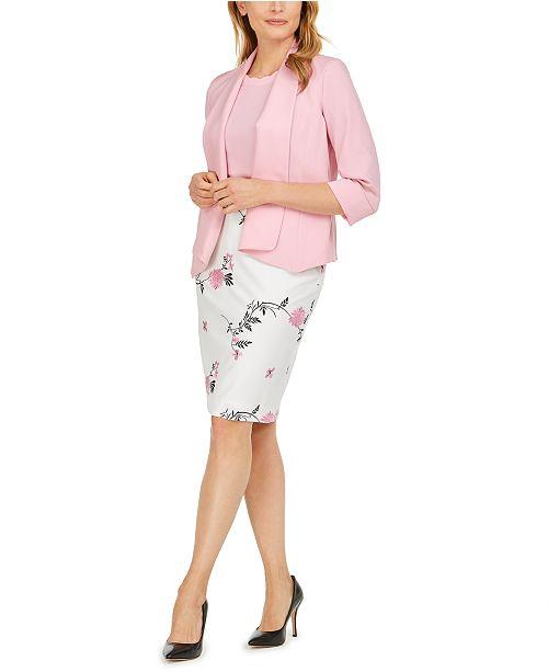 Kasper Stretch Crepe Jacket, Embroidered Floral Skirt & Scalloped Blouse