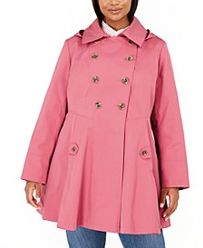 Plus Size Double-Breasted Hooded Skirted Trench Coat