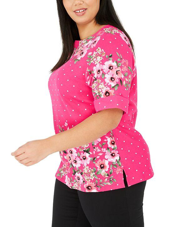 Karen Scott Plus Size Printed Elbow-Sleeve Top, Created for Macy's
