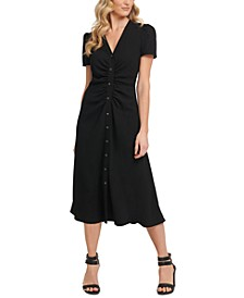 Ruched Button-Through Midi Dress