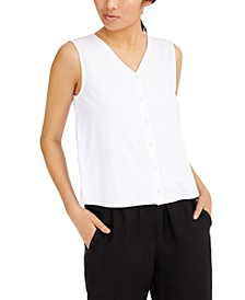 Button-Front V-Neck Top