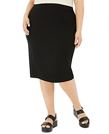 Plus Size High-Waist Pencil Skirt