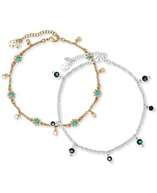 Two-Tone 2-Pc. Set Beaded Stone Ankle Bracelets