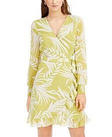 Palm-Print Wrap Dress, Created for Macy's