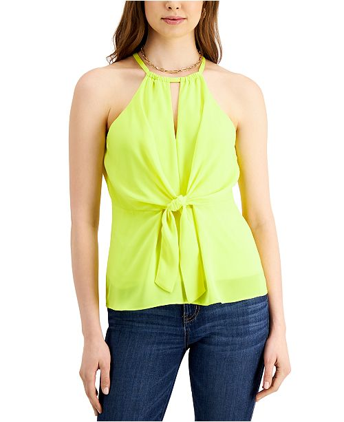 Bar III Tie-Front Keyhole Top, Created for Macy's