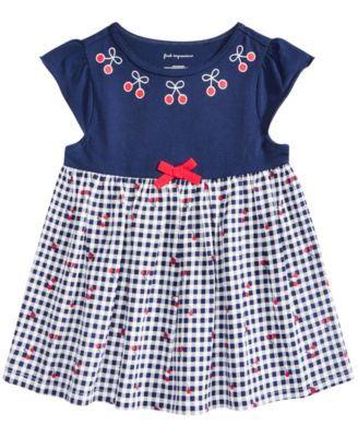First Impressions Baby Girls Houndstooth-Print Dress Angel Wht 3-6 Months