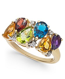 Multi-Gemstone (3-1/3 ct. t.w.) & Diamond (1/20 ct. t.w.) Ring in 10k Gold
