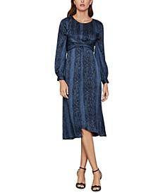 Snake-Embossed Satin Georgette Dress