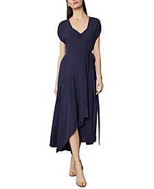 Asymmetric-Hem Wrap Dress